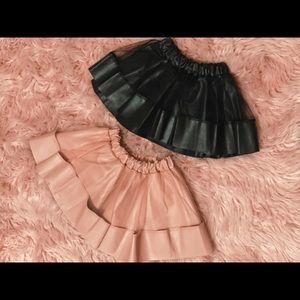 Girls leather sheer skirt